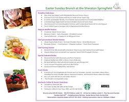Easter Brunch Buffet Menu by The Sheraton Easter Brunch Buffet Sheraton Springfield