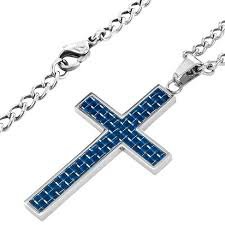 stainless cross necklace images Men 39 s crucible carbon fiber and polished stainless steel cross