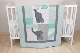 Green Elephant Crib Bedding Baby Quilt Elephant Blanket Mint Green Gray Crib Bedding