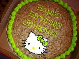 it is so easy to make a cookie cake here is a large hello kitty