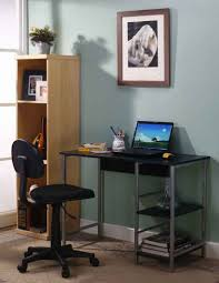 Glass And Wood Computer Desk Awesome Tempered Glass Computer Desk Featuring Dark Brown