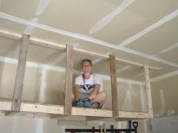 Building Wood Shelves For Garage Attached To Studs by Overhead Hanging Storage