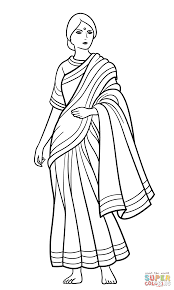 indian woman in sari coloring page free printable coloring pages