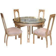 Dining Room Tables With Leaves 1960s Glazed Silver Leaf Round Dining Table And Four Chair Set By