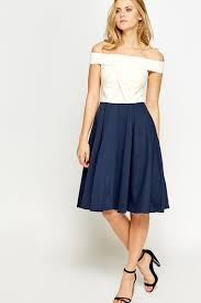 bardot contrast pleated skater dress just 5