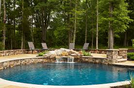 backyard designs with pool and outdoor kitchen country stone pool waterfall with outdoor kitchen u2014 marcia fryer