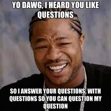 Question Meme - yo dawg i heard you like questions so i answer your questions