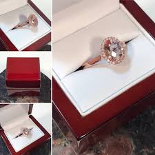 halo rings red images Morganite engagement ring with diamond halo rose gold engagement jpg