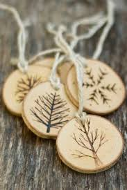 Christmas Ornaments With Initials Custom Wood Burned White Birch Tree Christmas Ornament