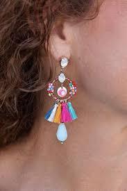 gaudy earrings always ready tassel trim poncho dressin gaudy