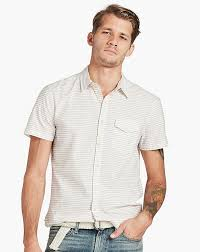 lucky brand men u0027s short sleeve striped button down shirt orange navy