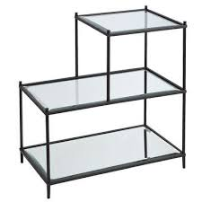 Glass Accent Table 3 Tier Black Frame Glass Top Accent Table