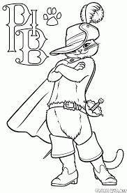 coloring page puss in boots style