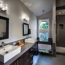 dark grey bathroom modern with wall mounted vanity cabinet cherry