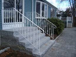 Porch Steps Handrail Image Of Wrought Iron Exterior Handrail Including Light Blue Wood
