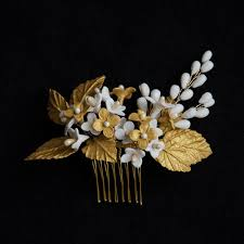 handmade tiaras gold porcelain flowers handmade bridal headpiece wedding