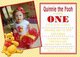 winnie the pooh invitation 1st birthday baby shower