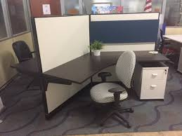 120 degree haworth 3 person workstation with new fabric and custom