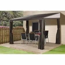Gazebo Patio Outdoor Hardtop Gazebo Large 12x10 Patio Canopy Deck Porch Wall