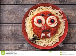 halloween party decoration food spaghetti monster stock photo