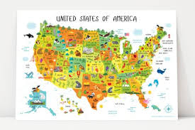 map of us states poster usa map for playroom decor nursery classroom decor