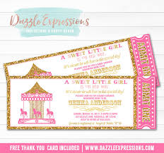carousel baby shower printable pink and gold glitter carousel ticket baby shower