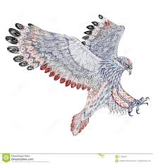 attacking golden eagle with ethnic ornaments stock