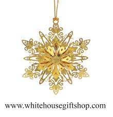 sparkling snowflake ornament 3 d 24kt gold plated white house