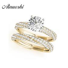 womens wedding ring sets ainuoshi 925 sterling silver yellow gold color twisted 4 prongs