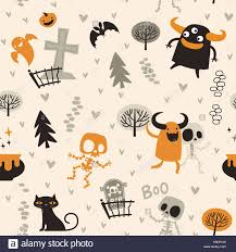 halloween theme pattern cute skeletons and monsters in a forest