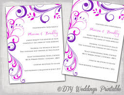 wedding invitation templates purple and pink
