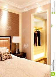 bedroom and closet in the sample room of the apartment stock image