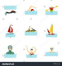 boating swimming icons set flat illustration stock vector