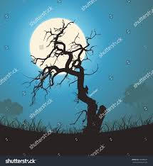 dead tree silhouette moonlight illustration halloween stock