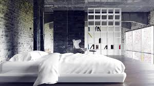 interior dark industrial bedroom scheme alongside ivory brick of