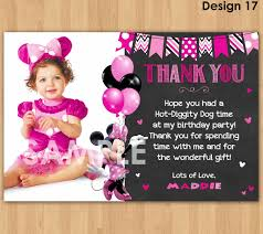 minnie mouse thank you cards minnie mouse thank you card with photo minnie thank you card