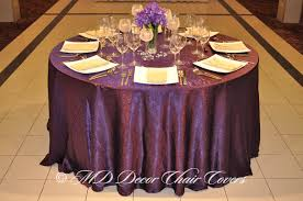 tablecloths and chair covers purple crushed satin tablecloth md decor chair covers