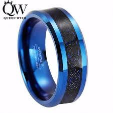 celtic mens wedding bands queenwish 8mm blue tungsten carbide ring black celtic inlay