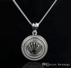 round crystal necklace images Wholesale hip hop 18k silver gold plated king crown pendant lced jpg