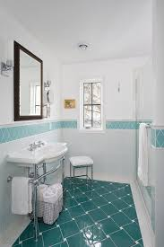 ceramic tile wainscot bathroom traditional with romantic wooden