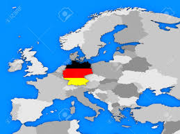 The Map Of Europe by Flag Of Germany In The Shape Of The Country Standing Out Of The
