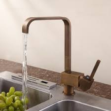 Foldable Single Hole DoubleHandle Kitchen Faucet In Antique Brass - Brass kitchen sink