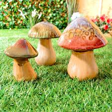 ceramic mushrooms toadstools pottery garden indoor outdoor
