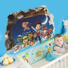 Paw Patrol Room Decor Cartoon Movies Through Wall Stickers Art Decals For Kids Room