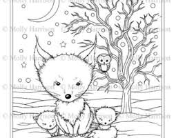 cute winter coloring pages fox coloring etsy