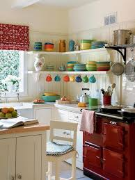 white floating shelves and red cabinet for cottage style kitchen