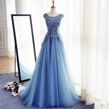 cap sleeve blue lace beaded evening a line prom dresses long