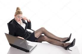 Feet On The Desk Bored At The Office Nice Legs U2014 Stock Photo Runzelkorn 19990745