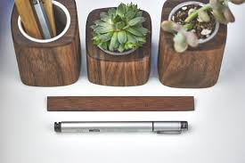 walnut pen cup succulent planters and ruler made by grovemade