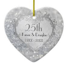 25th wedding anniversary christmas ornament sparkle silver heart 25th wedding anniversary christmas ornaments